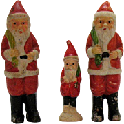Three Vintage Porcelain Santa's Made in Japan 1930s Vintage Condition
