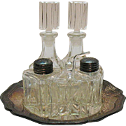 Vintage U.S. Zone Germany Crystal Cruets S&P Shakers Mustard Jar Good Condition