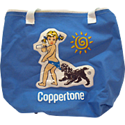 Vintage Coppertone Canvas Tote Bag Zipper Top Plastic Motif 1960-70s Vintage Condition