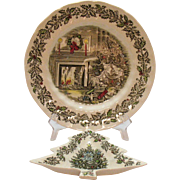 Vintage Johnson Brothers Merry Christmas Plate & Serving Dish 1958-95 Good Condition