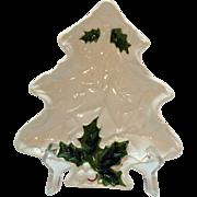 Lefton Vintage White Holly Christmas tree Dish 1970-71 #6072