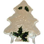 Lefton Vintage White Holly Christmas tree Dish 1970-71 #6072