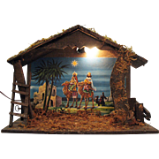 Vintage Wood Manger for Nativity Display Has Light & Music Box Made in Italy 1950s Good Condition