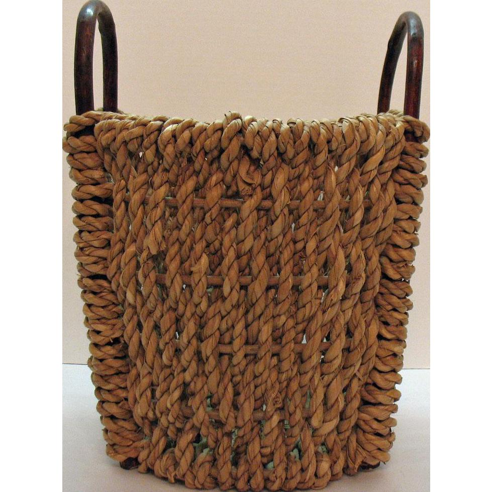 Vintage Folk Art Primitive Hand Woven Rattan Wood Basket Two Bentwood Handles Good Vintage Condition