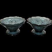 Vintage Rare Tiara 2 Crimped Vases Sandwich Pattern Bi-Centennial Color 1976 Only Good Condition