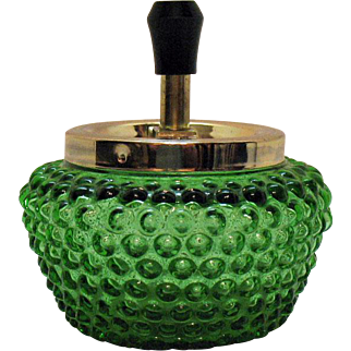 Vintage Ashtray Ash/Butt Receiver Glass Hobnail Body Metal Top 1950s Good Condition