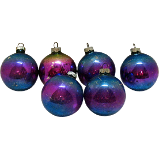 Six Shiny Brite Vintage Two Tone Unsilvered Glass Ball Ornaments 1942-45 Vintage Condition