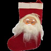 Vintage Folk Art Christmas Stocking Vinyl Santa Face 1960s Good Condition