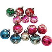 Vintage 15 Christmas tree Glass Ornaments 1950-60s