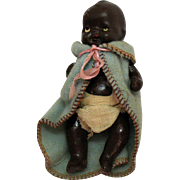 Vintage Porcelain Black Baby Doll 1950s Original Clothes Good Condition