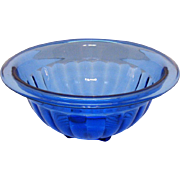 Vintage 1930s Hazel Atlas Cobalt Blue Mixing Bowl 7 ½ inches