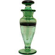 Vintage Paden City  Transparent Green Glass Perfume Bottle with Glass Stopper
