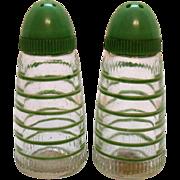 Vintage Hazel Atlas/Owens-IL S&P Shakers Green Horizontal Stripes 1950-60s Good Condition