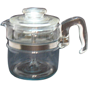Vintage Pyrex 4 Cup Flame ware Coffee Pot Percolator 1940-50s Used