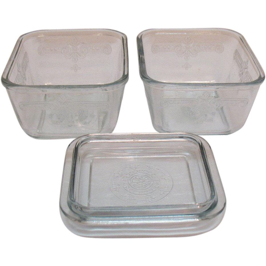 Vintage Anchor Hocking Fire King Sapphire Blue Refrigerator Dishes 1941-56