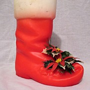 Vintage Collectible Large Christmas Boot Candle 1960s EmKay Candles