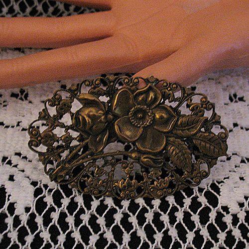 50% OFF~Gorgeous Antique Brass Brooch Sash Pin Art Nouveau Rose Dogwood Flowers