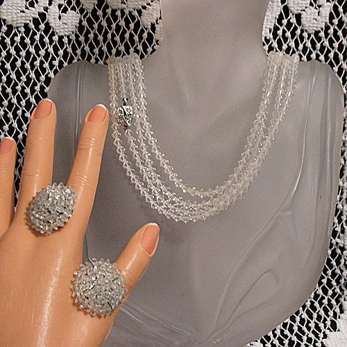 50% OFF Vintage Necklace Earrings Set Crystal Glass 86 Long By Cone Rhinestone Clasp