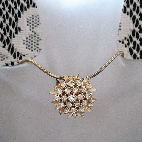 60% OFF~Vintage Signed Napier Brooch Necklace Convertible Rhinestone Sun Burst