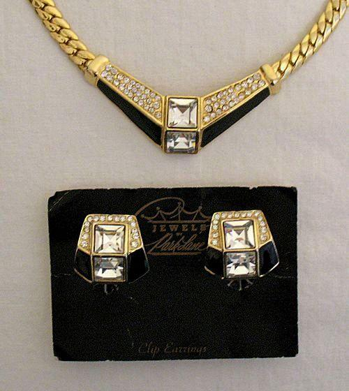 60% Off Retired Vintage Necklace Earrings Set Signed Park Lane Pava Rhinestone Enameled UNWORN