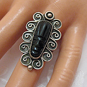 60% Off Fabulous Vintage Ring Carved Onyx Mayan Face Sterling Silver Signed BEAUTIFUL