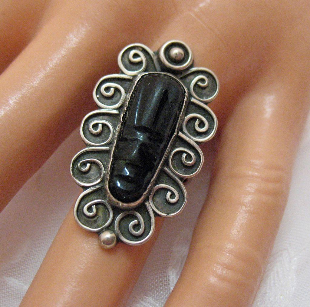 Fabulous Vintage Ring Carved Onyx Mayan Face Sterling Silver Signed BEAUTIFUL