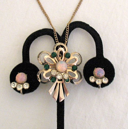 50% OFF~Vintage 1940s Necklace Earrings Set Glass Opal Emerald Rhinestones