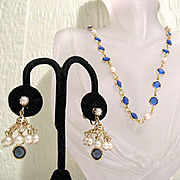 50% OFF~Fantastic Vintage Necklace Dangle Umbrella Earrings Collet Blue Sapphire Pearl Glass Stones