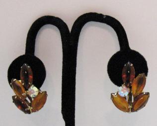 50% OFF~Big Vintage Glass Navette Clip Earrings ~Juliana  Poured Glass Stones