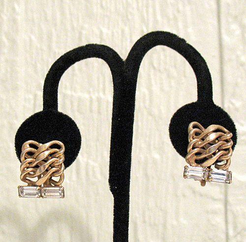 50% OFF~Unique Vintage Earrings Chain Baguette Rhinestones Clip