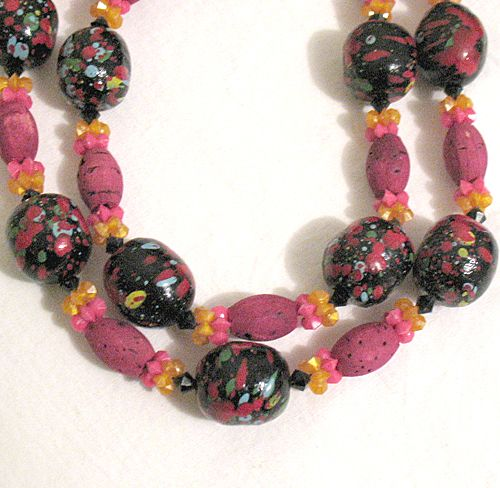 50% OFF Unusual Vintage Mod Necklace Cork Paper Mache Beads