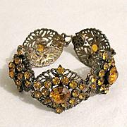 50% OFF~Fabulous Vintage Brass Bracelet Citrine Rhinestones