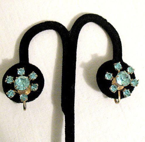 50% OFF~Vintage Signed Coro Aqua Marine Rhinestone Screw Back Earrings