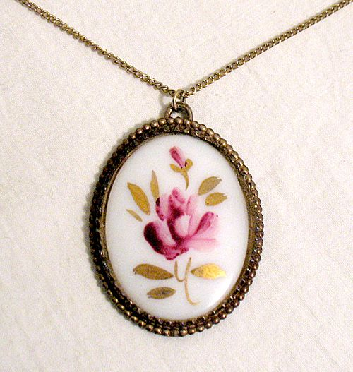 50% OFF~Large Vintage Porcelain Pink Rose Pendant Necklace~Hand Painted