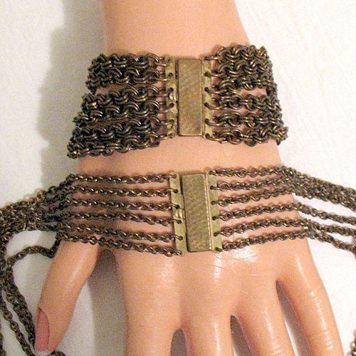 50% OFF~Unusual Antique Festoon Necklace Bracelet Set Brass