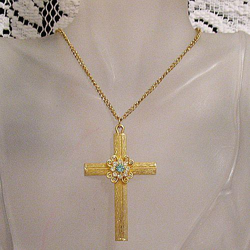 50% OFF Vintage Rhinestone Cross Pendant Necklace UNWORN