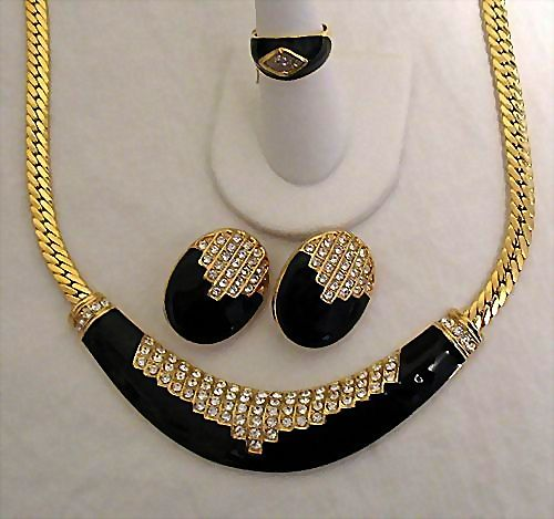 50% OFF Vintage Estate Italian Signed Park Lane Parure Necklace Ring Earrings Set  MINT Unworn