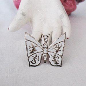 50% OFF~Vintage Butterfly Brooch Sterling Silver Nielloware Enameled Siam Dancers