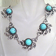 70% OFF~Vintage Necklace Stylized Lucite Turquoise Cabochons