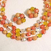50% OFF~Rare Vintage Signed Lisner Necklace Earrings Set