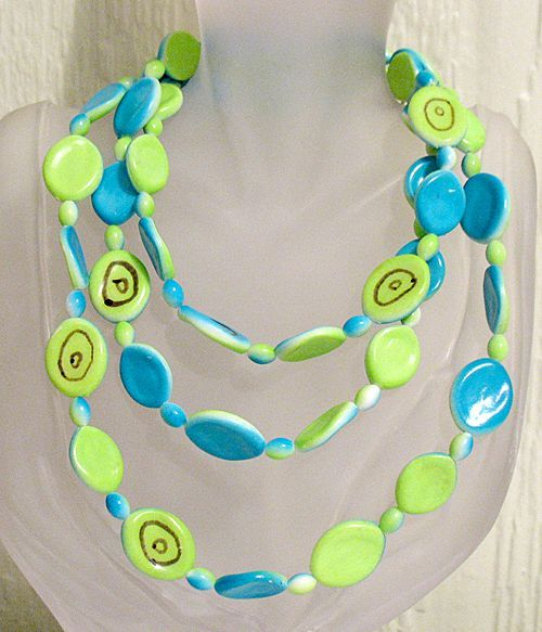 50% OFF~Very Unique Vintage Mod Ceramic Beaded Necklace 49 Inch Long Hand Crafted