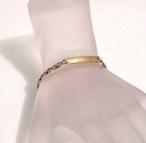 50% OFF~Vintage 12KGF Signet Bar Bracelet Petite or Childrens~Hand Crafted~Fleur de Lis