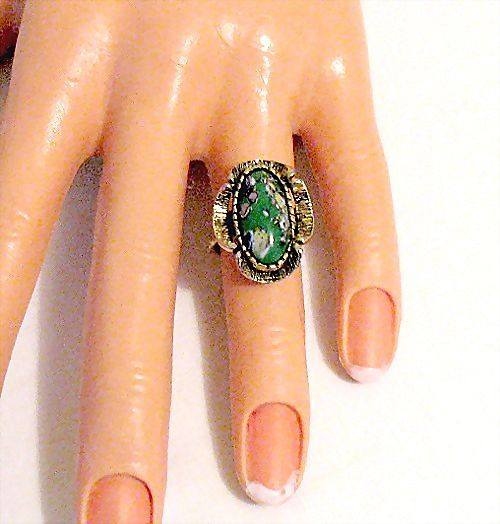 Unusual Vintage Millefiori Glass Ring~Jade Glass Stone
