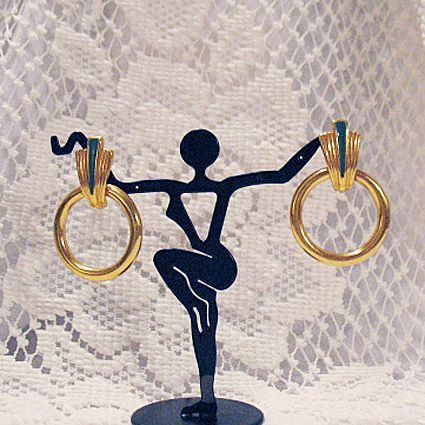 50% OFF Vintage Signed JS Hoop Doorknocker Pierced Earrings Art Deco Inspired