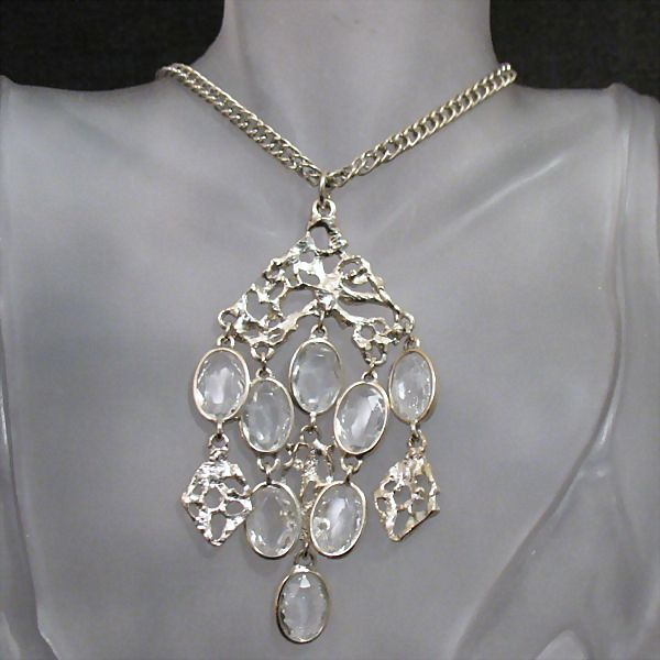 50% OFF~Vintage Waterfall Necklace Faceted Collet Crackle Glass Stones~UNWORN