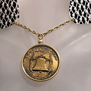 50% OFF~Vintage 1976 Bicentennial Commemorative Necklace Embossed Bronze Medallion