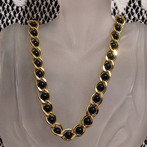 50% OFF Vintage Signed Napier Necklace Black Glass Beaded Heavy Chain