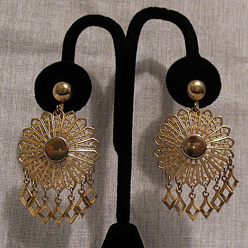 50% OFF~Vintage Filigree Disk Dangle Screw Back Earrings