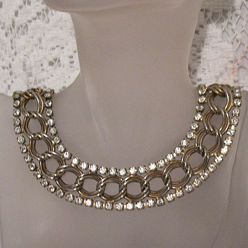 50% OFF Vintage Designer Rhinestone Chunky Chain Bib Necklace Signed Germany