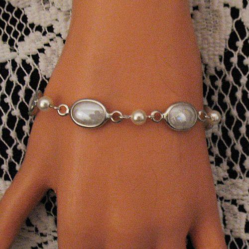 50% OFF~Gorgeous Vintage Signed Judy Lee Bracelet Art Glass Pearls MINT Unworn